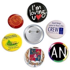 Badges métalliques ronds de type américain