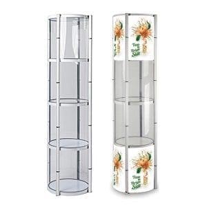 vitrine tour cylindrique pliante pour salon exposition stand