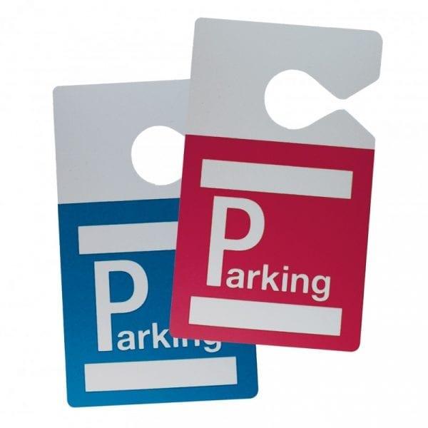 Badge parking avec accroche rétroviseur véhicule