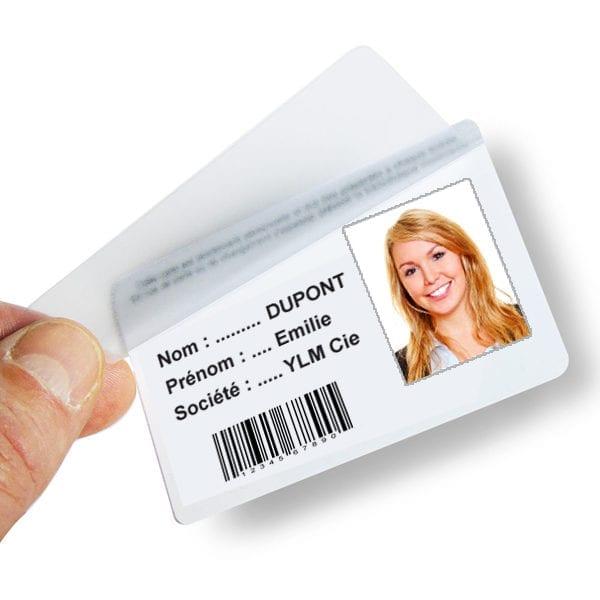 Overlay protecteur adhésif pour badges PVC
